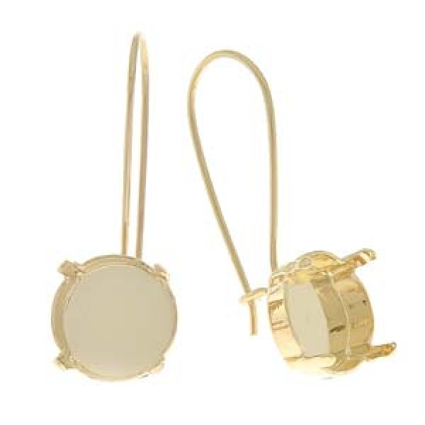 1af7b290e5c7c 12mm Drop Earring Settings to suit Swarovski 1122 Rivoli Crystals - Gold  Plated
