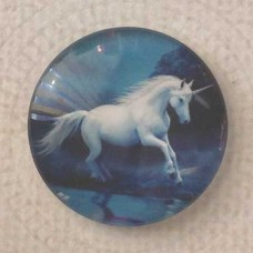 25mm Art Glass Backed Cabochons - Unicorn on Blue
