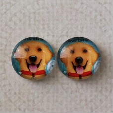 12mm Art Glass Backed Cabochons -  Golden Labrador