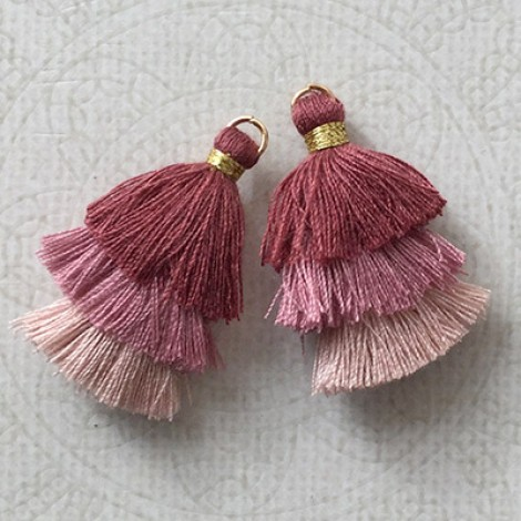 5 Pair Small Cotton Tassel Earrings Read Description