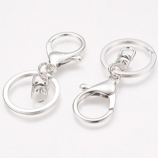 68mm Platinum Silver Col Plated Swivel Clasp Clip w-Keyring