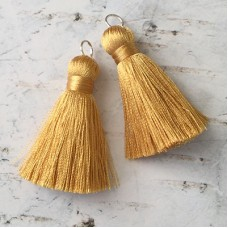 40mm Silk Tassels with Silver Jumpring - Gold - 1 pair