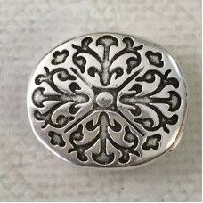 10mm Flat Leather Baroque Design Magnetic Clasp - Antique Silver
