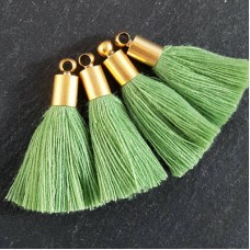 26mm Mini Sage Green Soft Thread Tassels w-Matte Gold Cap