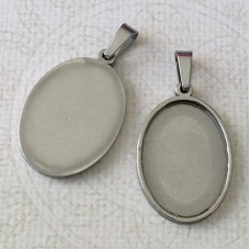 18x25mm ID Oval Stainless Steel Bezel Pendant Setting