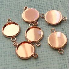 21x14mm (ID12mm) Round Rose Gold Plated Brass 2-Hole Bezel Link