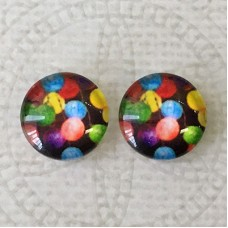 12mm Art Glass Backed Cabochons - Rainbows 9