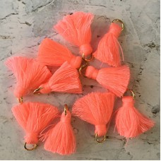 20mm Cotton Mini Tassels with Gold Jumpring - Pack of 10 - Sherbert/Gold
