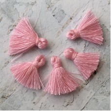15mm Tiny Cotton Tassels - Candy Pink