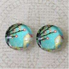 12mm Art Glass Backed Cabochons - Tree of Life 24