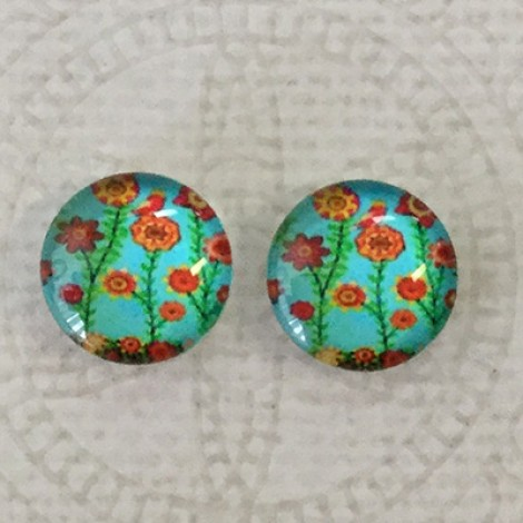 12mm Art Glass Backed Cabochons - Tree of Life 4