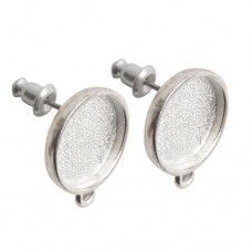 13mm ID Nunn Design Bright Fine Silver Plated Mini Circle Bezel Earstuds with Loop