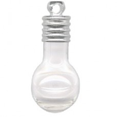 Glass vial pendants polymer clay jewellery beading supplies 24x11mm light bulb glass vial pendant wloop mozeypictures Choice Image