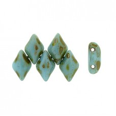 5x8mm Czech GemDuo 2-Hole Beads - Blue Turquoise Picasso