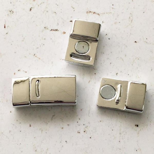 1 Silver Plated Brass Magnetic Clasp; Size 13mm
