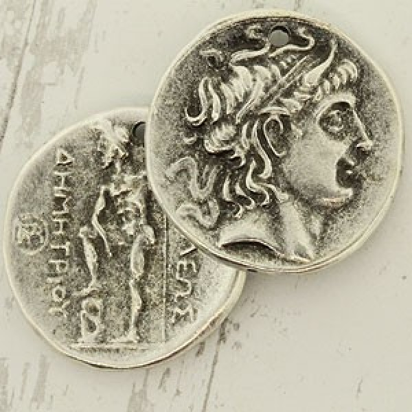 28mm Alexander The Great Coin Pendant Ant Pewter Mykonos Greek