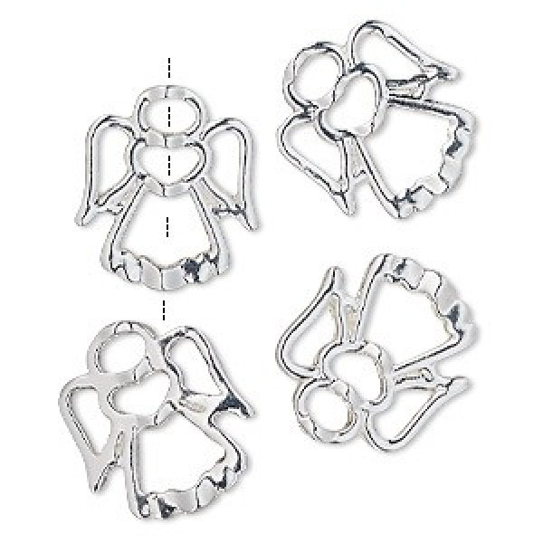 18x16mm Silver Plated Angel Frame Charms   Christmas Collection ...
