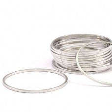25x0.8mm Bright Silver Plated Brass Circle Connector Links