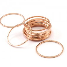 24x1mm Rose Gold Plated Brass Round Connector Rings