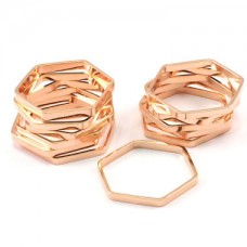 22mm Rose Gold Plated Brass Hexagon Link Ring-Charms