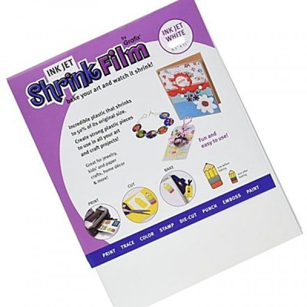 image about Printable Shrink Plastic named Grafix Inkjet Shrink Plastic - White - 6 sheets