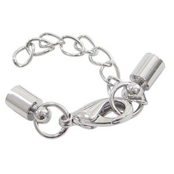 25 sets Silver Plated End Caps for 4mm Cord with Lobster Clasps /& Extender Chain