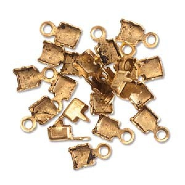 Pp antique gold rhinestone chain connectors cord end