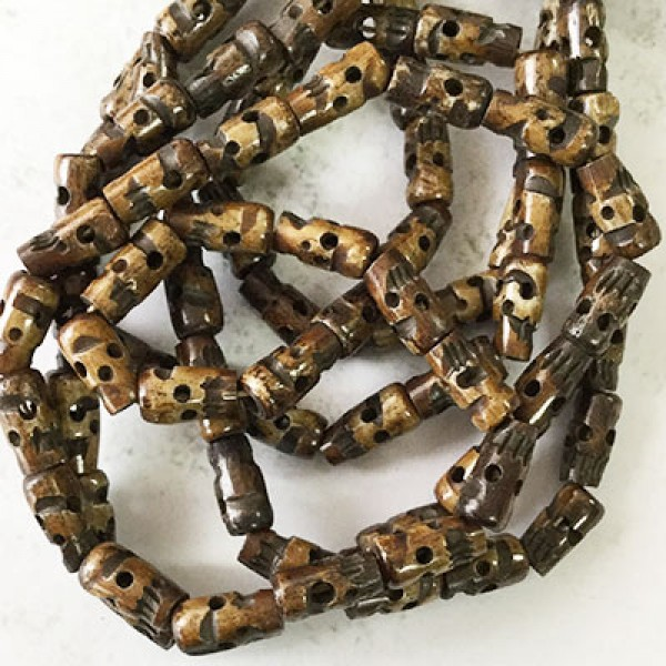12x6mm Brown Carved Bone Skull Bead Mala Necklace Strand Wood Coconut Bea