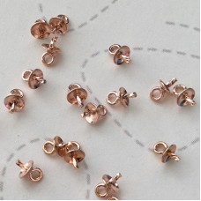 3mm 14K Rose Gold Filled Cup & Twist Peg Drop Bails for pearls