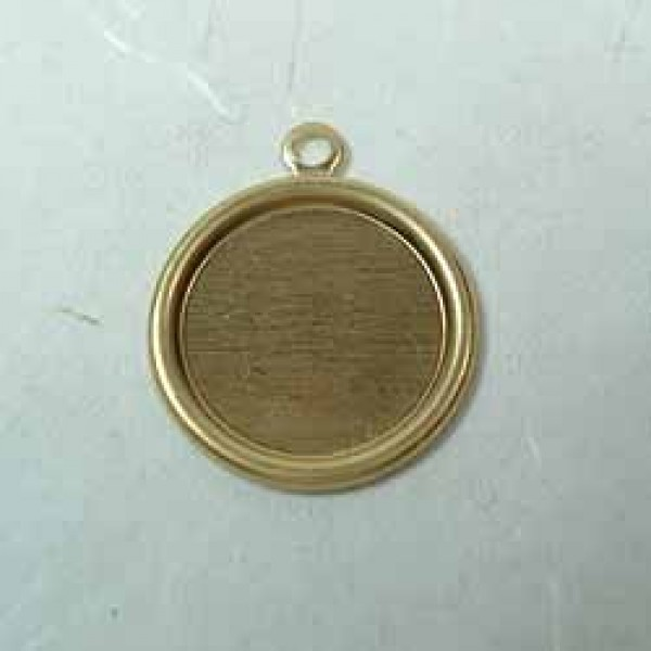 Quot mm small raw brass round bezel frame w loop