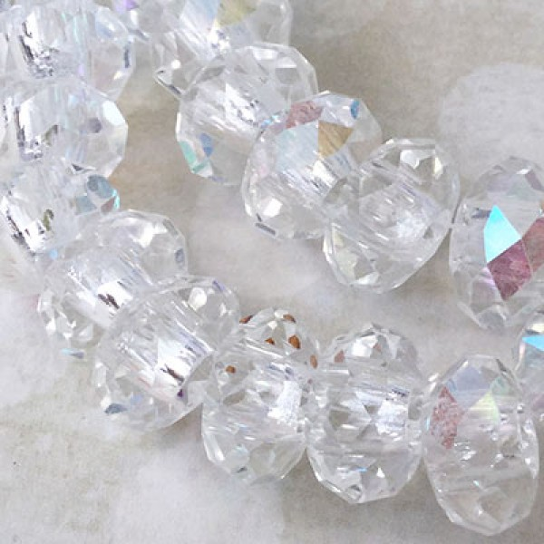 dd560fcaf 14x10mm Faceted Tiara Glass Rondelle Beads with 5mm Large Hole - Crystal AB  |.